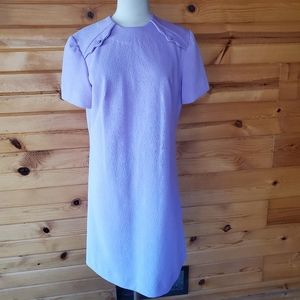 1960s Unlabeled Purple Embossed Shift Dress